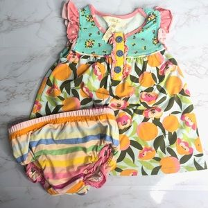 Matilda Jane Dress And Diaper Cover Floral Striped